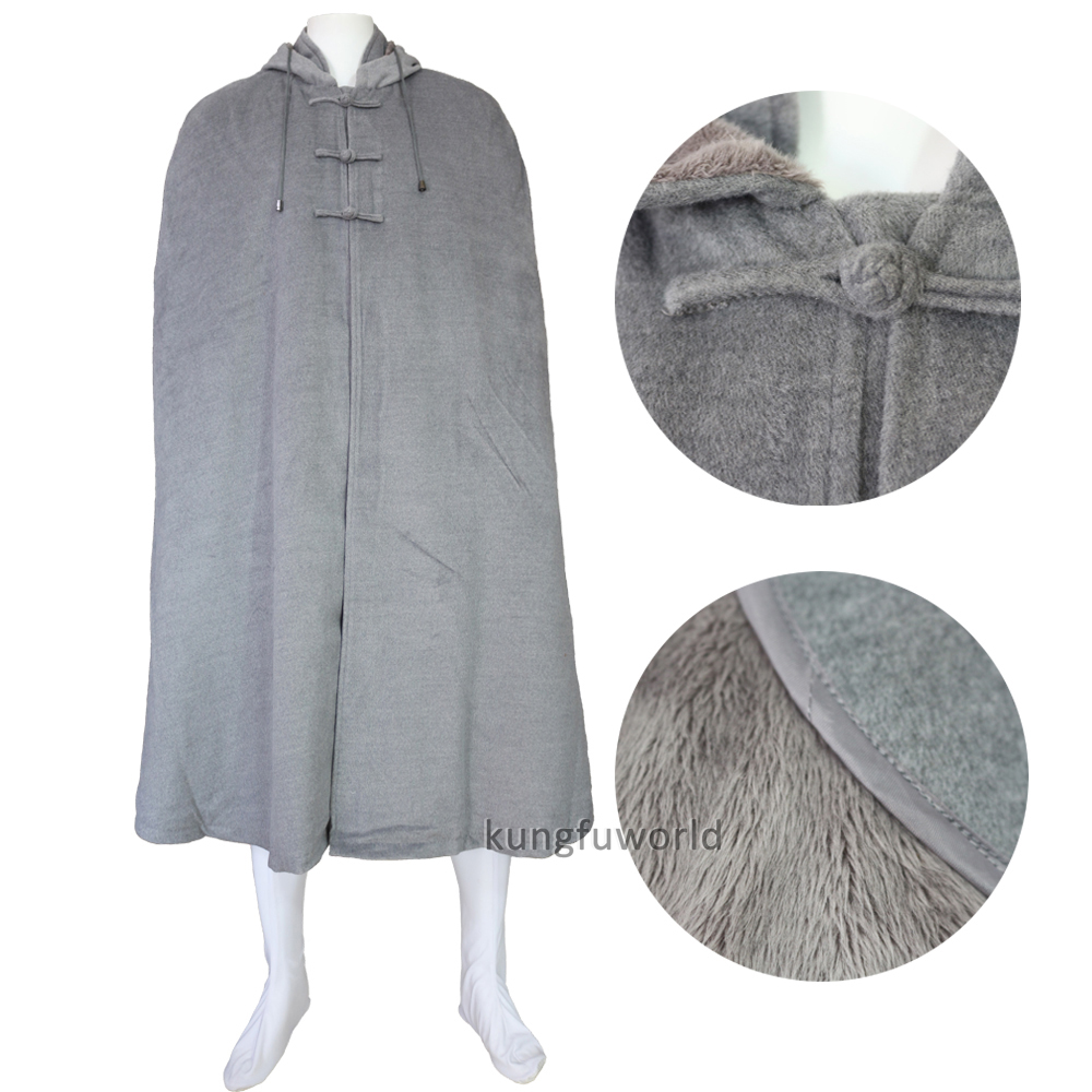 Top Quality Gray And Brown Buddhist Lay Monk Meditation Cloak Shaolin Kung Fu Cape Martial Arts Robe Outer Clothes