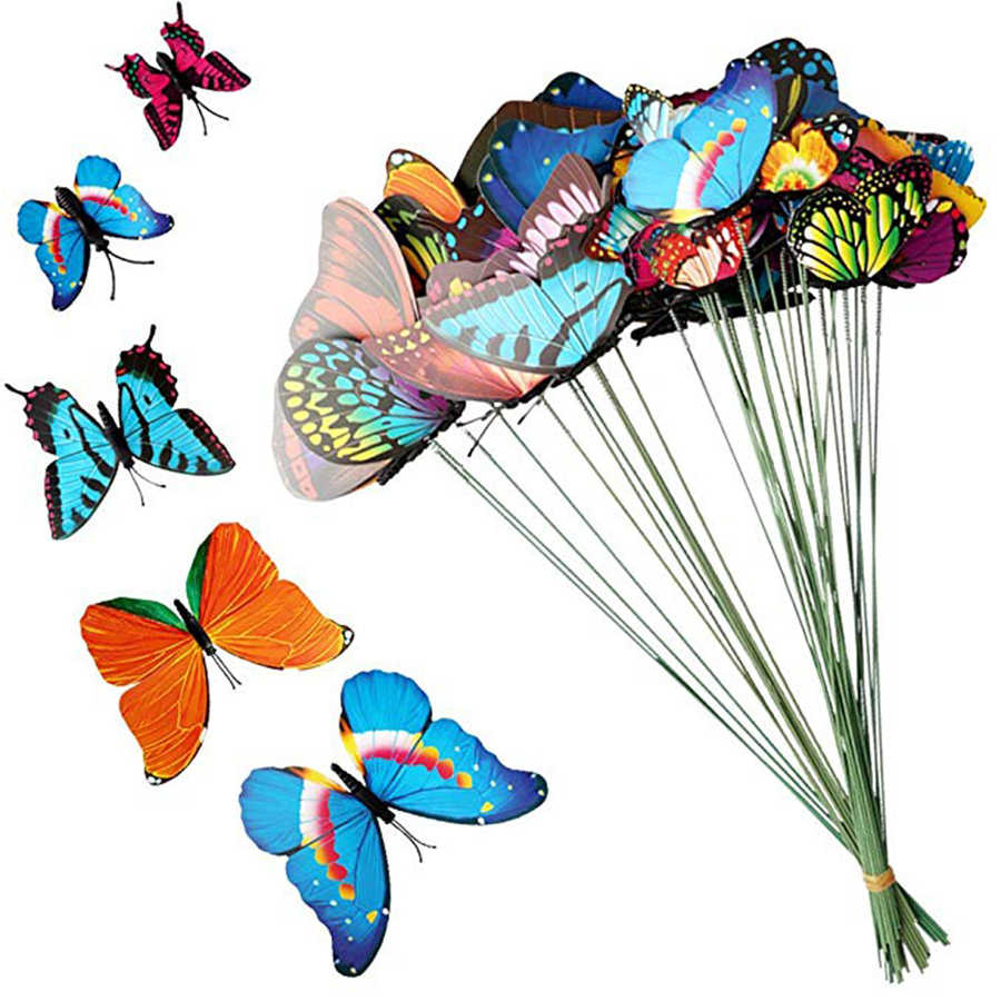 15PCS/6cm  Lot Artificial Butterfly Garden Decorations Simulation Butterfly Stakes Yard Plant Lawn Decor Fake Butterefly Random