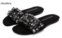 2017 Fashion Women Flat Shoes Rhinestone Slides Crystal Embellished Sandals Sexy Black Beach Shoes Woman Slippers