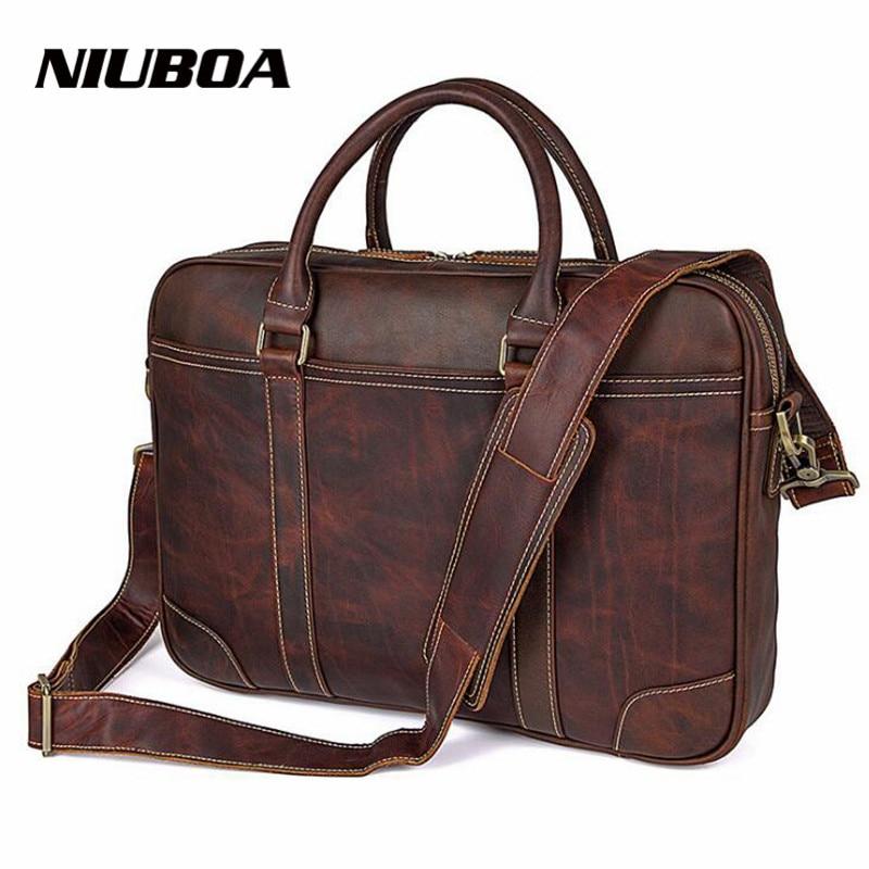 NIUBOA Men Briefcases Genuine Leather Handbag Vintage Laptop Briefcase Messenger Shoulder Bags High Quality Man's Leather Bag цена