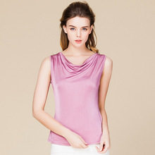Womens Knitted SILK Sleeveless Tanks Swing Collar Silk T-Shirt Tops
