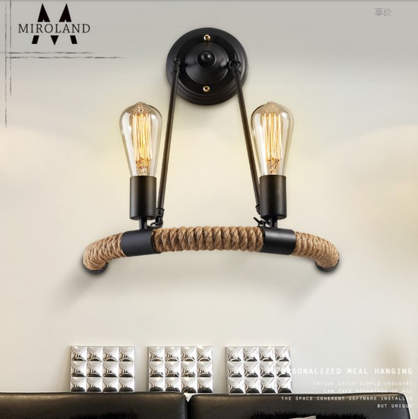 America Rope Vintage Wall Lights Fixtures In Style Loft Industrial Wall Lamp Edison Wall Sconce Wandlamp Lamparas Aplik retro vintage industrial wall lamp lights fixtures indoor lighting in loft style arandela aplik edison wall sconce