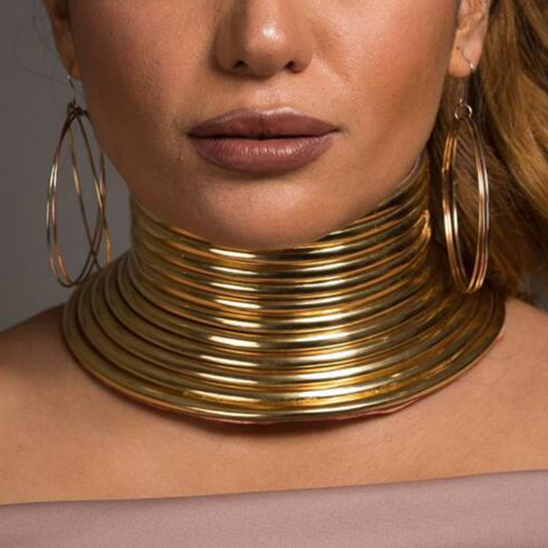 Solememo Gold Color Punk Exaggered Choker Necklace For Women Girls Leather Collar Necklace Statement Bohemian Jewelry Hot N6850Solememo Gold Color Punk Exaggered Choker Necklace For Women Girls Leather Collar Necklace Statement Bohemian Jewelry Hot N6850