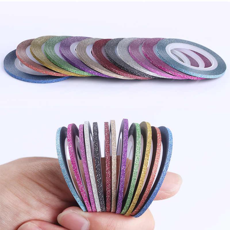 2 مللي متر ماتي بريق مسمار شريط قلم خط متعدد الألوان مسمار التصميم أداة ملصق لاصق لامع لتقوم بها بنفسك مسمار الفن زينة