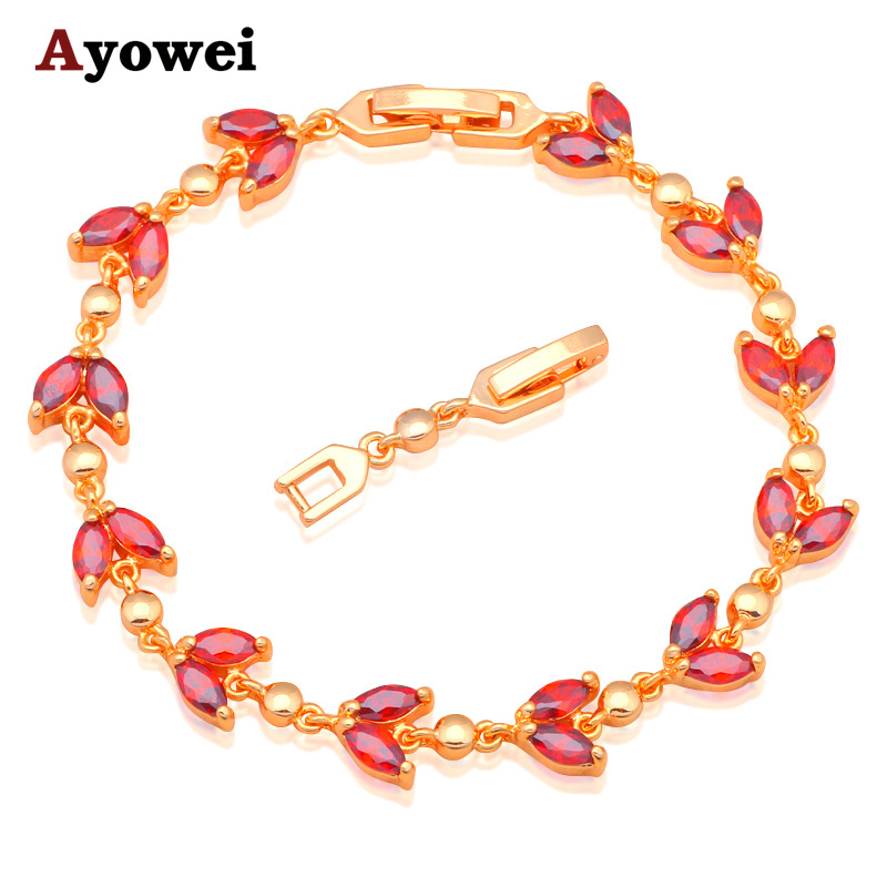 Top quality Gold color Bracelets Garnet Design AAA Zircon & Red Crystal Health Nickel & Lead free Fashion jewelry TB834A