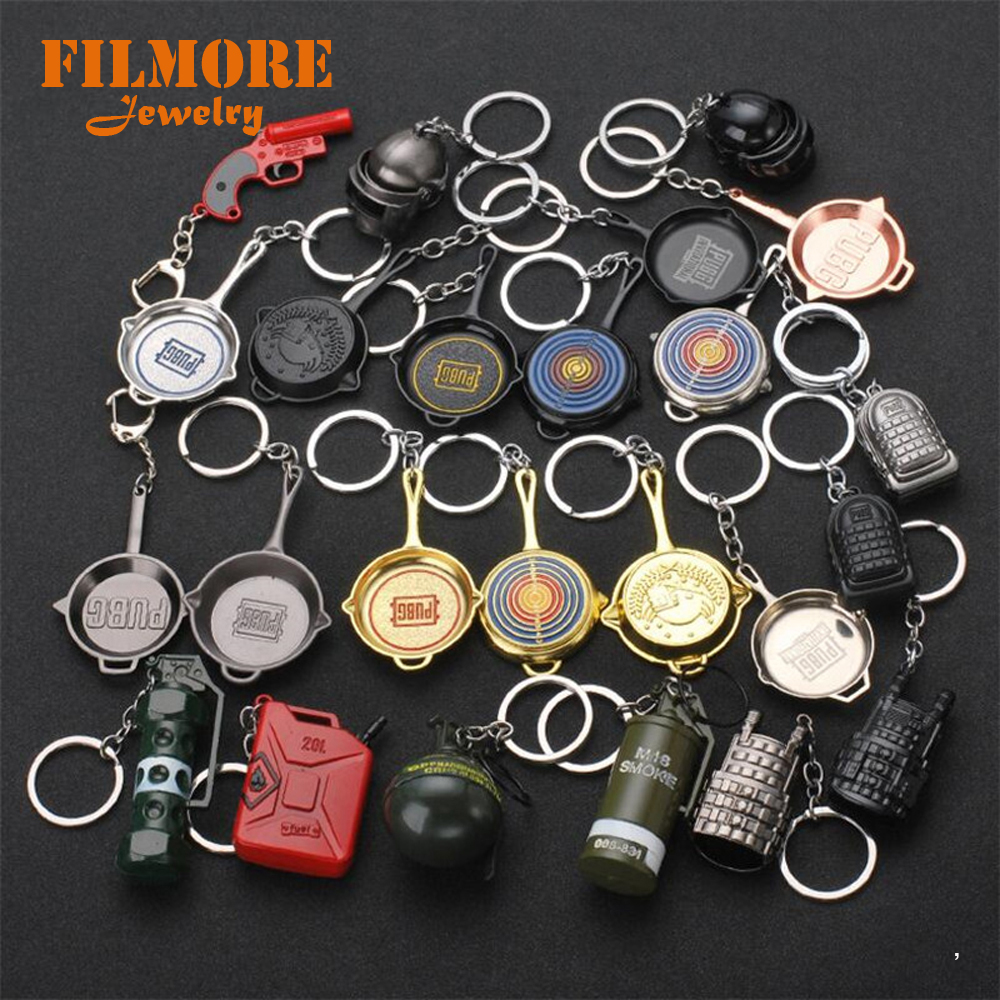 40 Style PUBG Weapon Keychain 3D Battle Grounds Figure Silicone Keychain Helmet Soldier Charm Keyring Jewelry FPS Game Fans Gift men beaded bracelet red