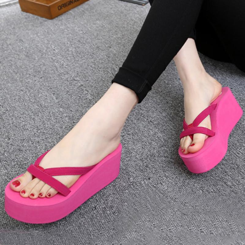 7fe2c53d345df Summer Sweet Women High Heel Flip Flops Slippers Wedge Platform ...