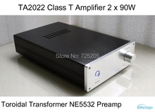TA2022 Class T Amplifier 2 x 90W Toroidal Transformer Power Supply NE5532 Preamplifier Whole Solid Aluminum Chassis Stereo HIFI