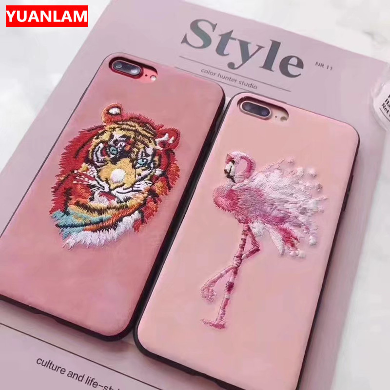 Cas Pour Apple iPhone 7 6 6 S 8 Cas Art tête de Tigre et Flamingo Broderie à la main 3D Cas de Téléphone Pour iphone 6 s 7 8 plus Cas