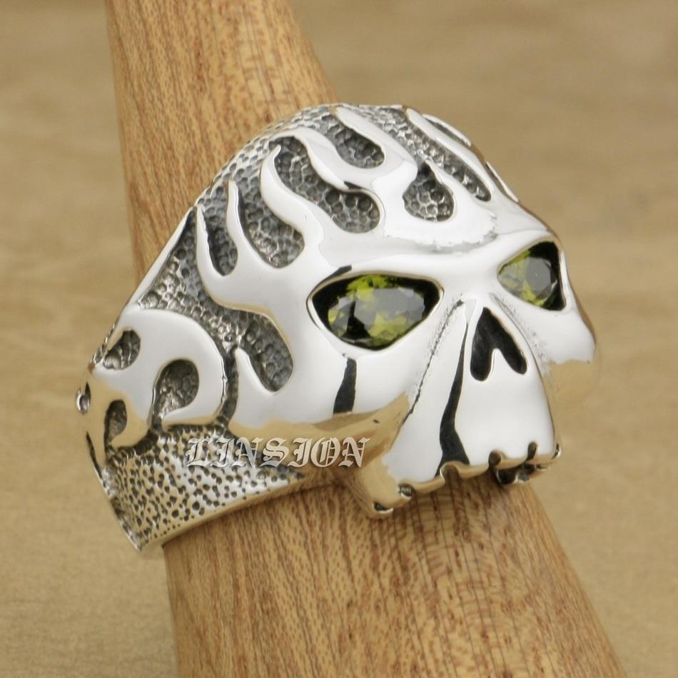 Huge Heavy 925 Sterling Silver CZ Eyes Fire Skull Mens Biker Rocker Punk Ring 8D206 US Size 7 ~ 15