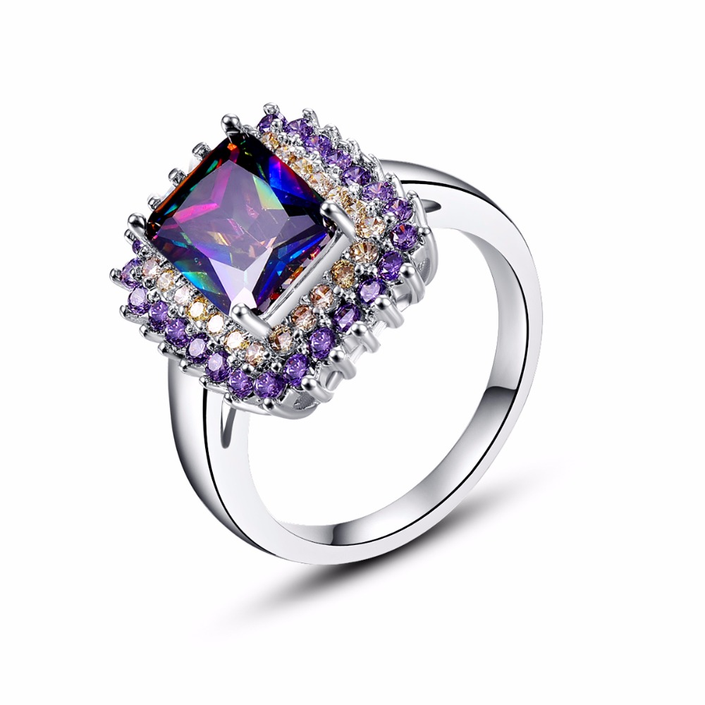 Classic Fashion Princess Cut Rainbow Mystic Stone Silver Ring For Women Favourite Sporty RING Size 7 8 9 10 Engagement Jewelry