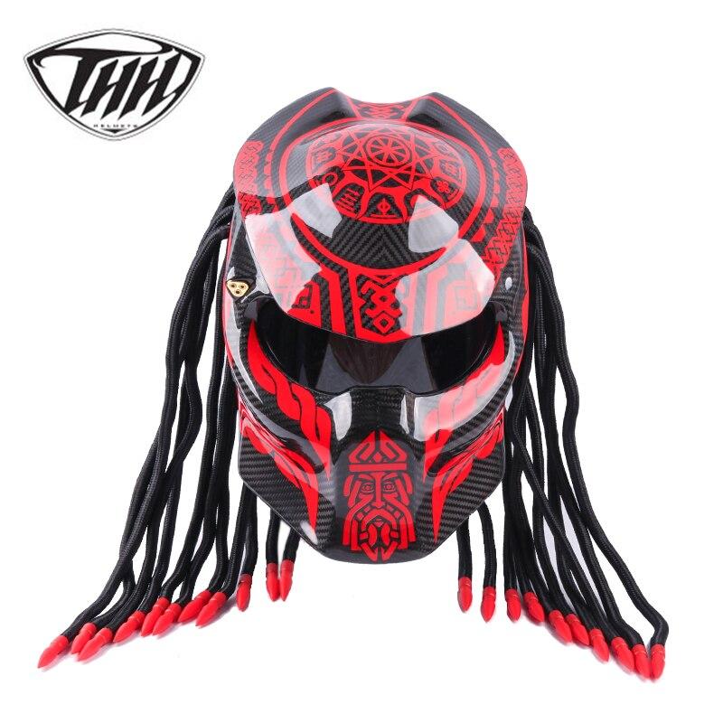 Хищник углеродного волокна мотоциклетный шлем полный лицо Железный человек шлем точка безопасности сертификация высокое качество черный ...