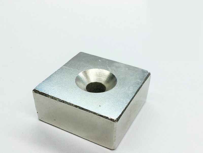 N52 40 40 20MM hole 8MM super strong Permanent Neodymium N52 block Rare Earth Magnet 40X40X20MM in Magnetic Materials from Home Improvement
