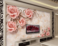 Beibehang 3d Wallpapers European Romantic Rose Pattern Stone Relief TV Background Wall Living Room Bedroom Mural