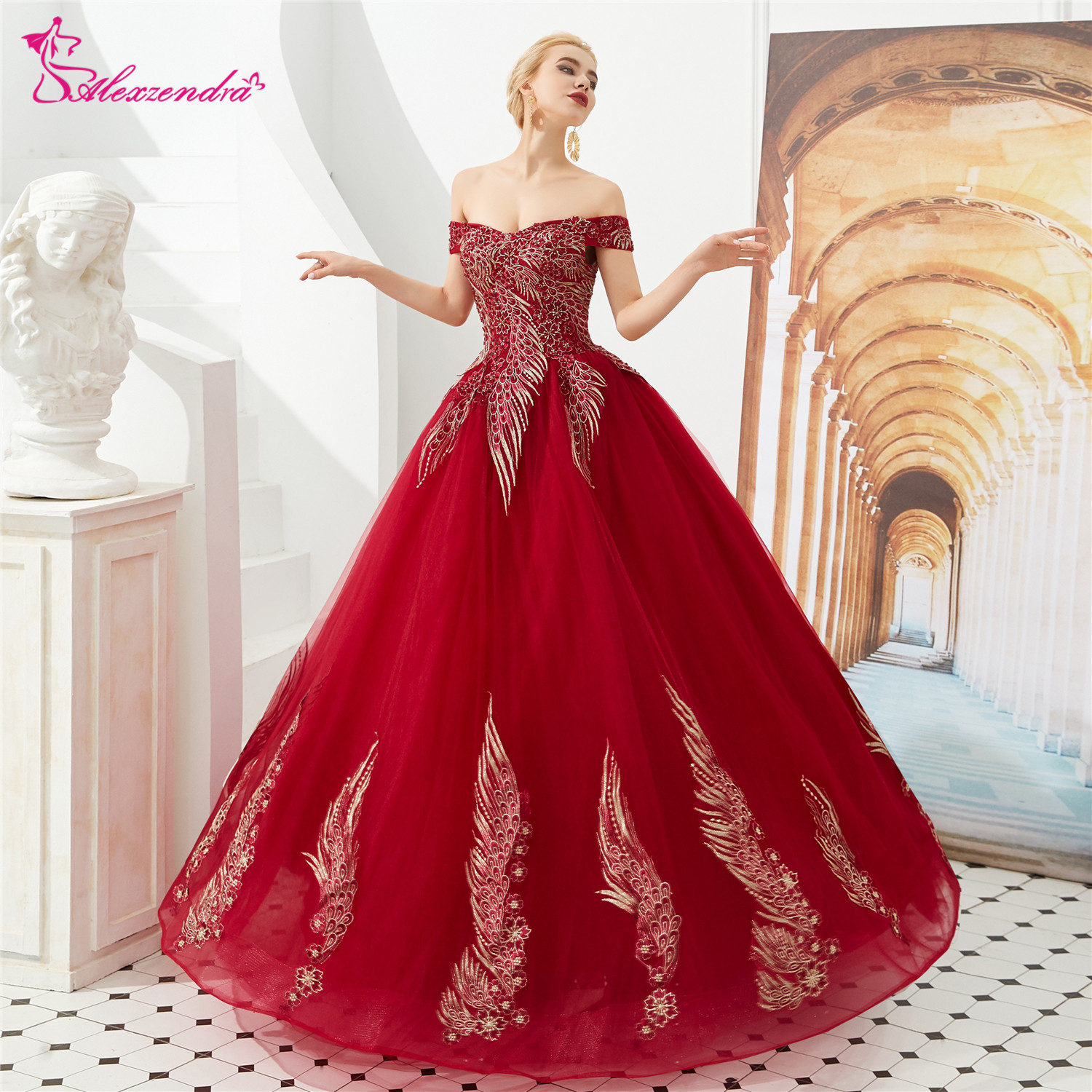 Alexzendra Ball Gown Off the Shoulder Red   Prom     Dresses   2019 Applique Flowers Formal Evening   Dresses   Party   Dress