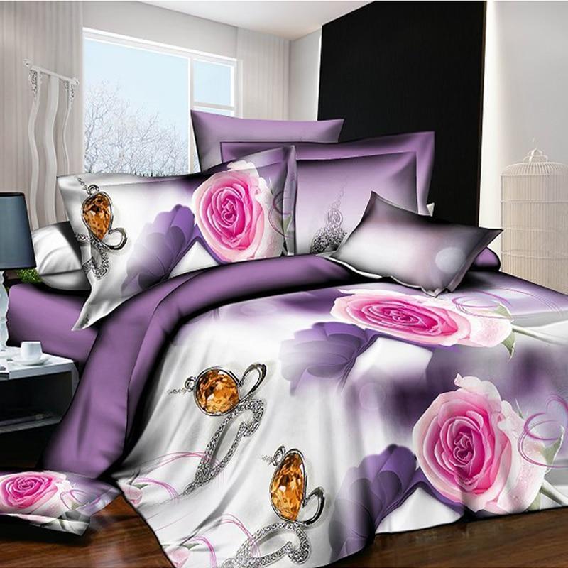 Linge de lit 3D pour la maison, quatre pièces, impression active et teinture, literie surdimensionnée, couette rouge rose