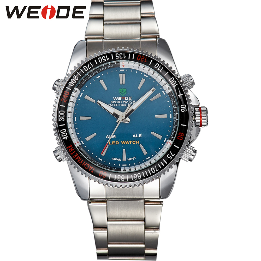 ФОТО WEIDE Classic Men Quartz Watch Analog-Digital Display High Quality Stainless Steel Band Waterproof Famous Luxury Brand Products