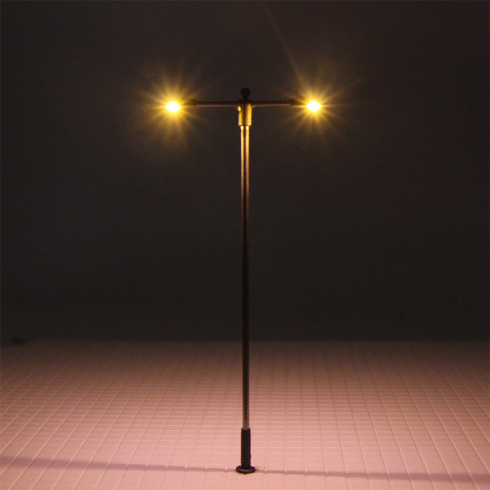 Image 3 - LQS12 10pcs Model Railway Train Lamp Post Two head Street Lights HO OO Scale LEDs NEW Miniature Layout White/WarmWhiteModel Building Kits   -
