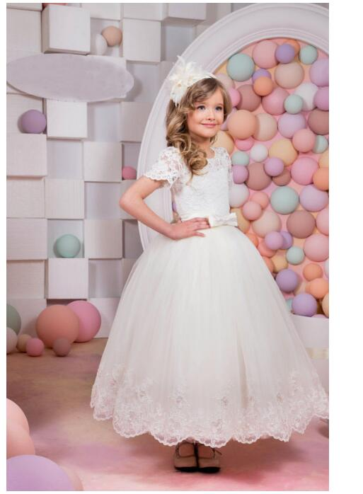 Girls Wedding Formal Dresses 2018 Shortsleeve Lace Gauze Prom Ball Gown Flowers Girls Princess Dress Kids Long Party Dress White girl s formal dress 2018 flower girls wedding dresses kids gauze sequins party ball gown children s long prom dress white 3 13y