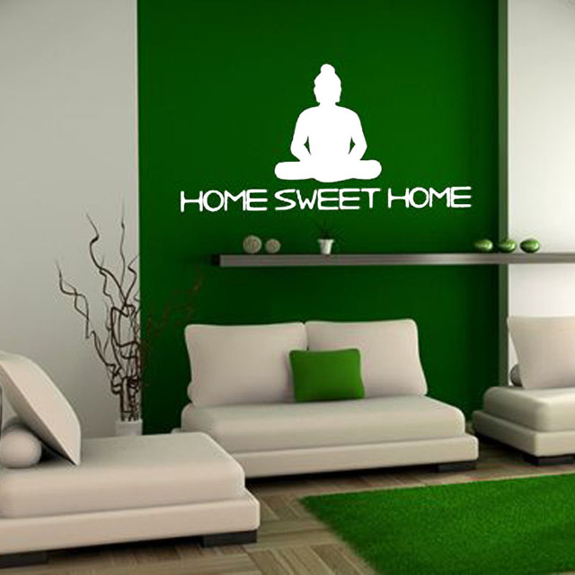 Buddha Statue Home Sweet Wall Sticker Vinyl Removable Decor For Living Room Sofa Background