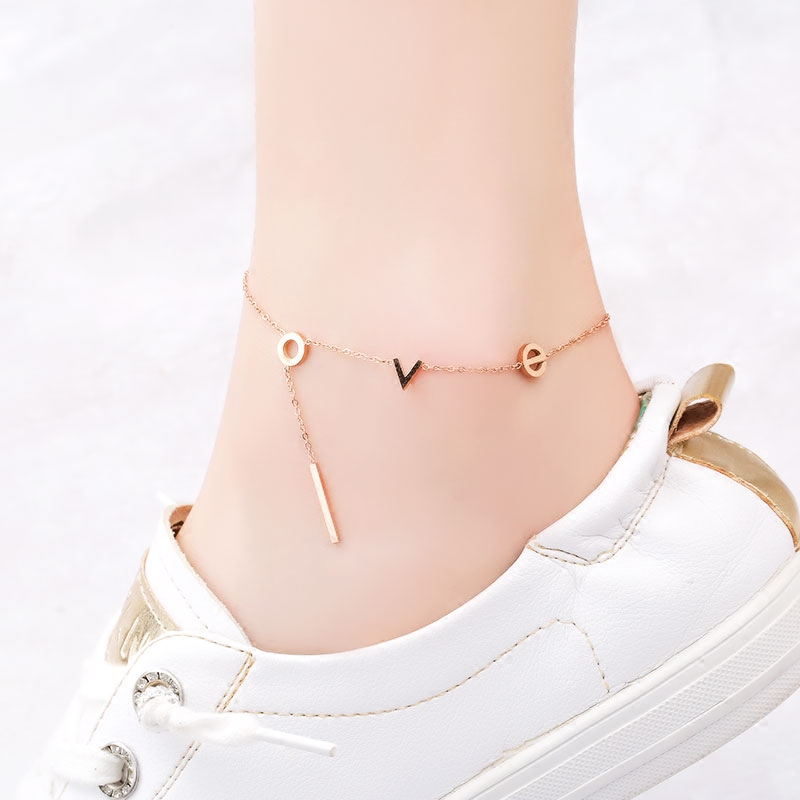 18KGP Rose Gold Color LOVE Letter Anklet Woman Gift 316L Stainless Steel Charm Jewelry Not Fade (GA120)