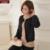 2016 Recién Llegado de Primavera Mujer Suéter Shrugs Sólido Negro Botón de La Manga Completa Moda Femenino Tejido A Mano Se Encoge de Hombros
