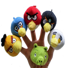 6Pcs cartoon bird plush toys finger puppet theater cloth doll small gift for kids baby finger toy play game funny child's size
