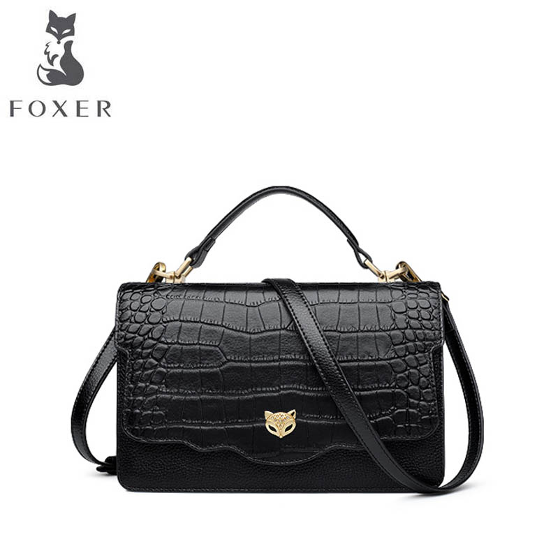 FOXER 2018 new brand women Genuine leather bag fashion crocodile grain women leather handbags shoulder bag quality cowhide bag foxer 2017 new brand women leather bag fashion casual wild women leather handbags shoulder bag quality cowhide small bag