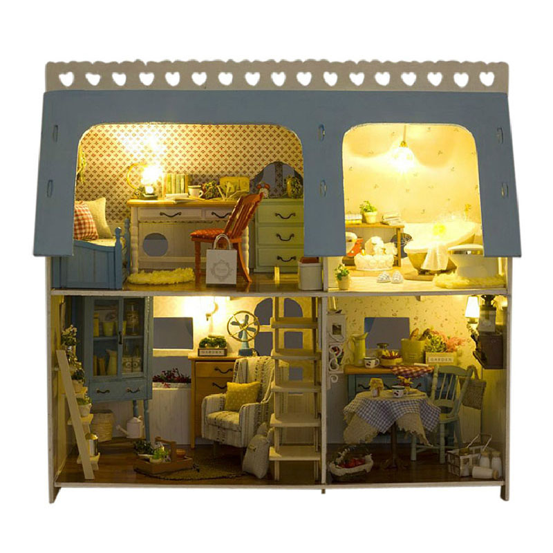 Cute Room DIY DollHouse Casa Miniature With Furnitures Handmade 3D Wooden Model Assembled For Kids Toys Home of Rocky X009 #E