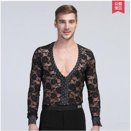 New style men s Latin dance costumes senior lace long sleeves men s latin dance body