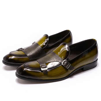 2019 Autumn Patent Leather Mens Loafers Wedding Party Dress Shoes Black Green Monk Strap Casual Fashion Men Slip On Shoes - DISCOUNT ITEM  50% OFF All Category
