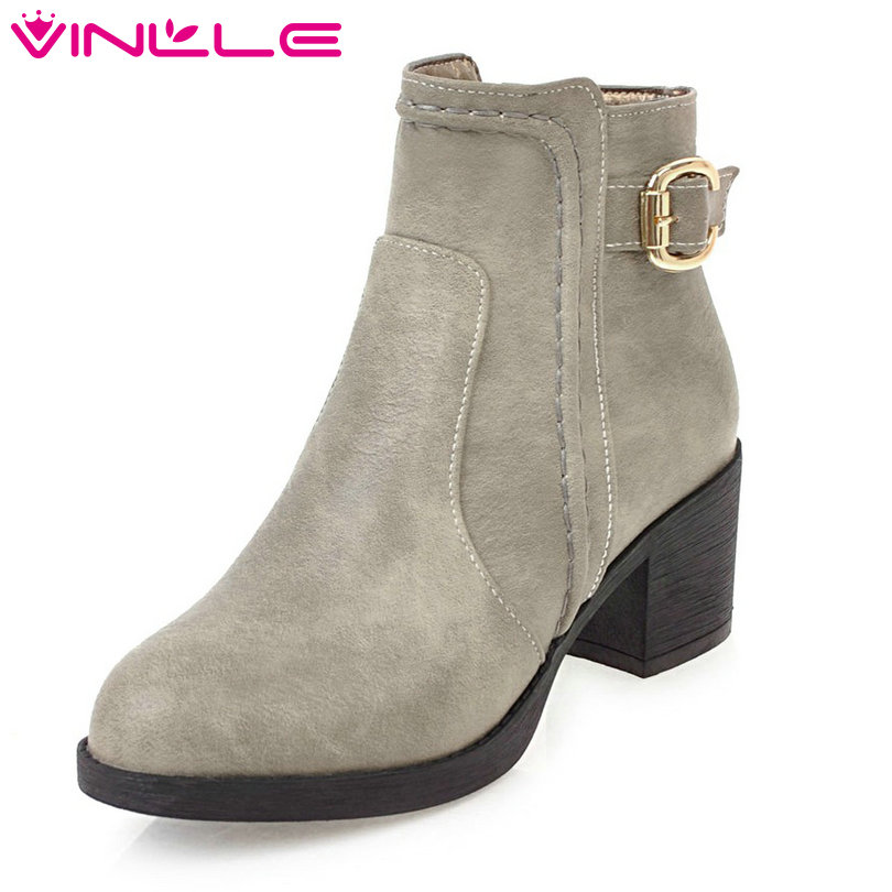 VINLLE 2018 Woman Boots Ankle Boots Square High Heel Women Shoes Round Toe PU leather Gray Ladies Motorcycle Boots Size 34-40 vinlle women boot square low heel pu leather rivets zipper solid ankle boots western style round lady motorcycle boot size 34 43