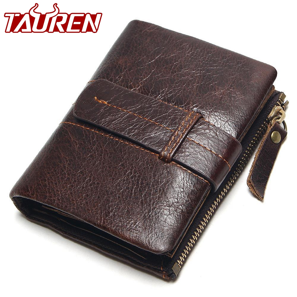 2018 Vintage Casual 100% Real Genuine Leather Oil Cowhide Men Mini Wallets Holder Coin Purse Pockets Small Men Wallet Coin Purse small vintage 100
