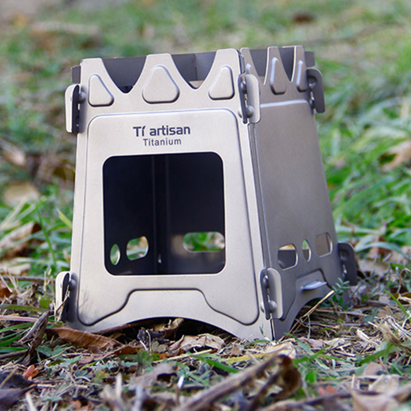 Tiartisan Camping Wood Stove Outdoor Portable Folding Titanium Wood Stove for Backpacking Survival Cooking Picnic BBQ Stove image