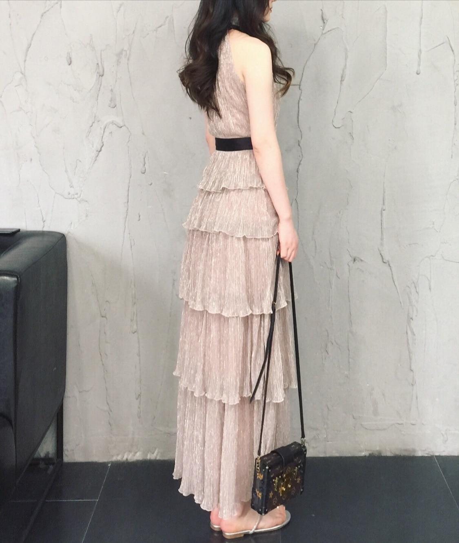 Women Elegant Dress 2019 Summer New Sexy Halterneck Sleeveless Dresses Vintage Ladies Party Flounce Layer Cake