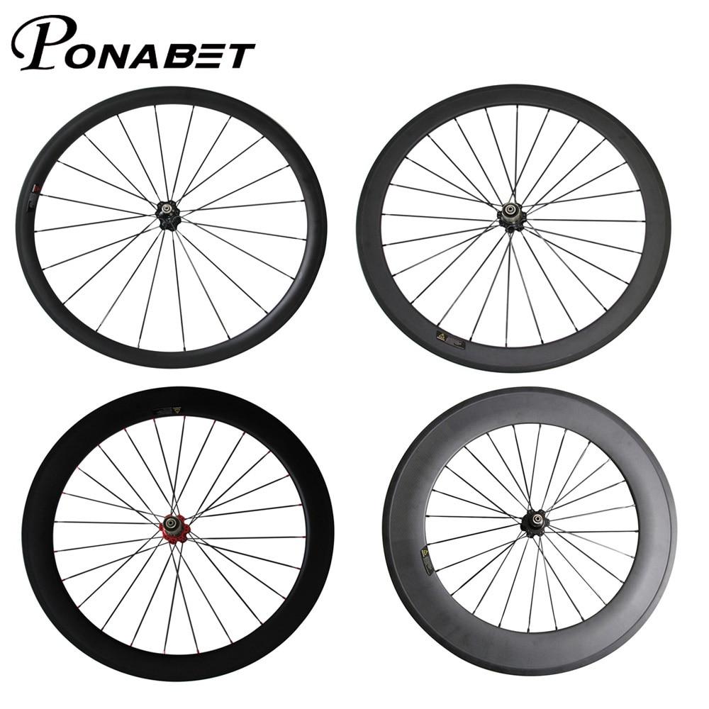 PONABET Carbone roues pour 38mm/50mm/60mm/88mm Enclume/Tubulaire avec Novatec hub route/vélo de course