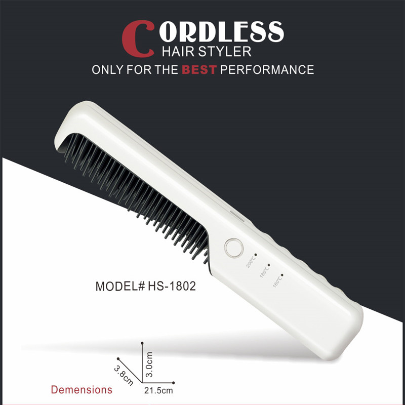 Fast PTC Heating Mini Wireless Hair Straightener Brush Cordless Rechargeable Electric Ionic Hair Care Styling Tool OKACHI GLIYA