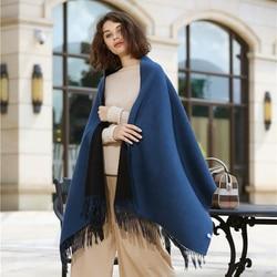 Top Level Elegante effen kleur Dames heren Basic Lange Kasjmier Sjaals met Kwastje Dubbele Gezicht Winter Warm wol Wraps sjaal