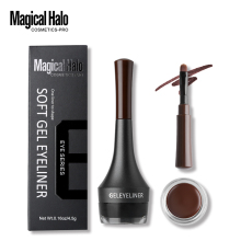 Magical Halo 2 Colors Brown Black Eyeliner Gel Waterproof Smudge-proof Eye Liner Cream with Brush Long-Lasting Brow Makeup Kits