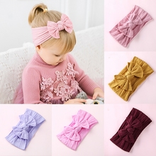 1pcs Knot Bow Nylon Headbands Cable Knit Wide Elastic Headwraps Soft Hairwear Hair Bands Christmas Hair Accessories for Girls