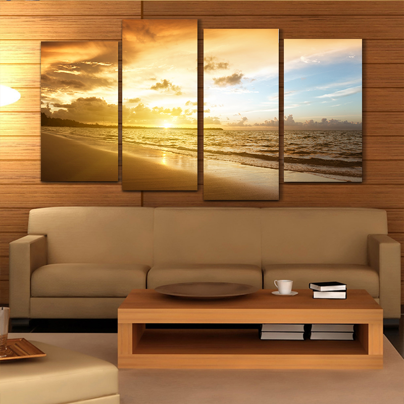 Cheap Ocean Sunset 4pcs Printed Painted Canvas Oil