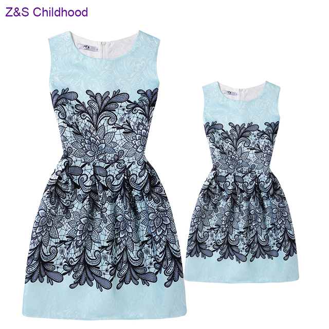 8e2a8b89452d Matching Mother and Daughter Clothes Vintage Printed Teenage Girls Dresses  Family Look Summer Mother Daughter Dresses Outfits