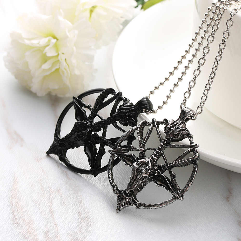 Fashion Retro Pentagram Pan God Skull Goat Head Pendant Chain Necklace Unisex Luck Alloy Retro Vintage Jewelry