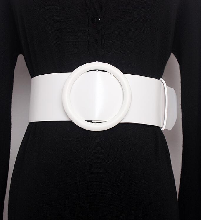 Women's Runway Fashion PU Leather Cummerbunds Female Dress Corsets Waistband Belts Decoration Wide Belt R1412