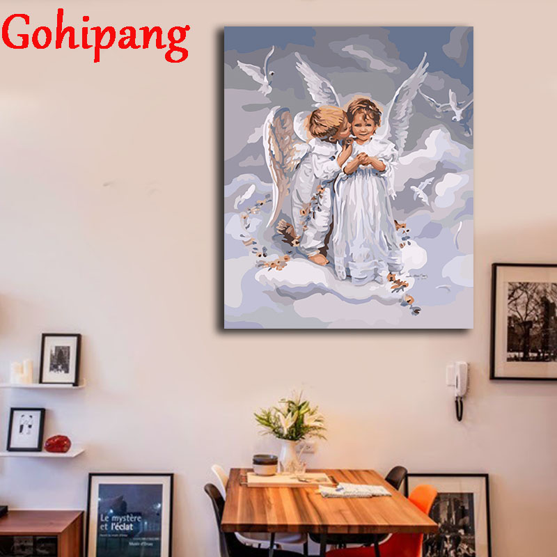 Coloring Hand Painted diy oil Painting With Frame Angel Romantic Peaceful By Numbers On Canvas Wall Digital Arts Decor 16x20in