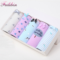 Feilibin 5PCS LOT Sexy Cotton Women Panties Lingerie Seamless Female Lovely Briefs Breathable Comfort Cotton Underwear