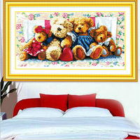 Cotton Thread DMC Cross Stitch Kits Printed Embroidery DIY Cartoon Doll Bear Animal Picture Handmade Needlework