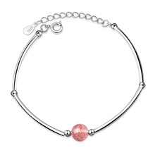 TJP New Arrival Crystal Pink Ball Female Bracelets Jewelry Girl Fashion 925 Sterling Silver Women Party Accessories