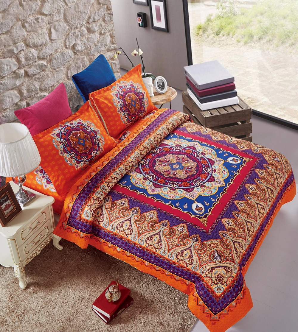 Brown and orange bedding - 4pcs Microfiber Fabric Orange Tone Boho Style Double Bedding Set Euro 1 5m Bohemian Duvet Cover