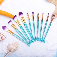 Professional 10Pcs Mermaid Makeup Brushes Eye Lip Foundation Powder Brushes Beauty Unicorn Brush Fishtail Sereia Makeup